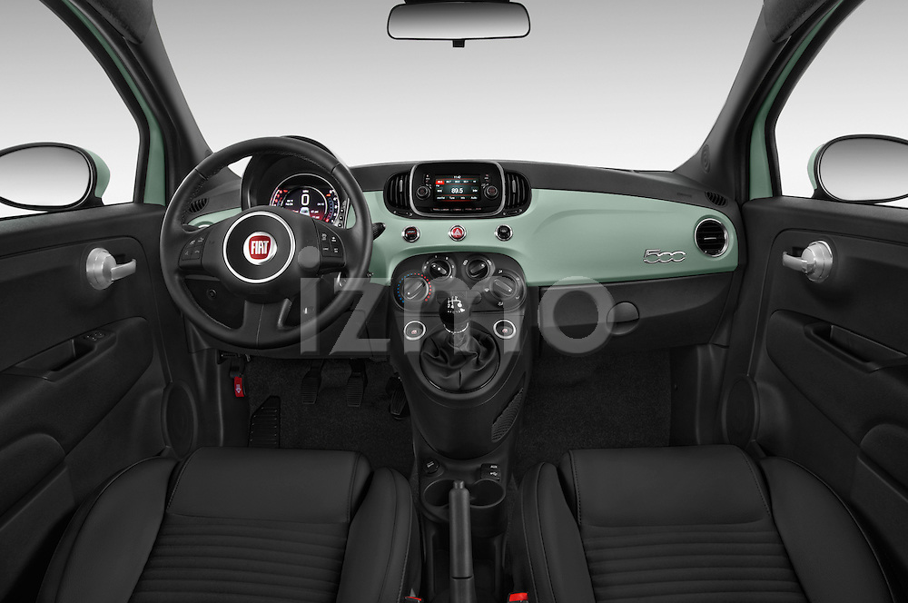 Stock photo of straight dashboard view of 2016 Fiat 500 Sport 3 Door Hatchback Dashboard