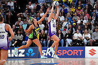 Jamie Hume of the Stars and Maddy Gordon of the Pulse during the ANZ Premiership match between the Pulse and the Stars at Fly Palmy Arena, Palmerston North, New Zealand on Sunday 18 April 2021.<br /> Photo by Masanori Udagawa. <br /> www.photowellington.photoshelter.com