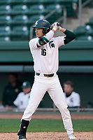 Photo of the Michigan State Spartans bats in a game against the Maryland Terrapins on Saturday, March 6, 2021, at Fluor Field at the West End in Greenville, South Carolina. (Tom Priddy/Four Seam Images)