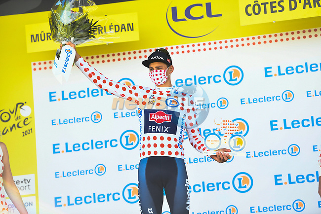 Mathieu Van Der Poel (NED) Alpecin-Fenix wins Stage 2 and also takes over the mountains Polka Dot Jersey of the 2021 Tour de France, running 183.5km from Perros-Guirec to Mur-de-Bretagne Guerledan, France. 27th June 2021.  <br /> Picture: A.S.O./Charly Lopez | Cyclefile<br /> <br /> All photos usage must carry mandatory copyright credit (© Cyclefile | A.S.O./Charly Lopez)