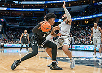 WASHINGTON, DC - FEBRUARY 19: David Duke #3 of Providence crashes into Jagan Mosely #4 of Georgetown during a game between Providence and Georgetown at Capital One Arena on February 19, 2020 in Washington, DC.