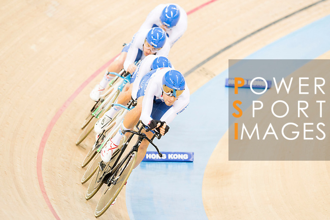 The team of Italy with Liam Bertazzo, Simone Consonni, Filippo Gonna and Francesco Lamon competes in Men's Team Pursuit 1st Round match as part of the 2017 UCI Track Cycling World Championships on 12 April 2017, in Hong Kong Velodrome, Hong Kong, China. Photo by Victor Fraile / Power Sport Images