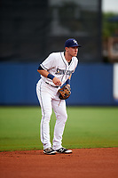 Charlotte Stone Crabs shortstop Alec Sole (6) during the first game of a doubleheader against the Tampa Yankees on July 18, 2017 at Charlotte Sports Park in Port Charlotte, Florida.  Charlotte defeated Tampa 7-0 in a game that was originally started on June 29th but called to inclement weather.  (Mike Janes/Four Seam Images)
