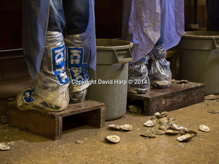 Shucking oyster is wet work.