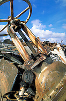 Scrap metal yard; recycling; oil field valve; oil bust. Houston Texas.