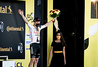stage winner Kragh Soren Andersen (DEN/Sunweb) on the podium<br /> <br /> Stage 19 from Bourg-en-Bresse to Champagnole (167km)<br /> <br /> 107th Tour de France 2020 (2.UWT)<br /> (the 'postponed edition' held in september)<br /> <br /> ©kramon