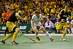 Berlin, Germany, February 01: Tom Grambusch #3 of Rot-Weiss Koeln controls the ball during the 1. Bundesliga Herren Hallensaison 2014/15 final hockey match between Harvestehuder THC (black) and Rot-Weiss Koeln (white) on February 1, 2015 at the Final Four tournament at Max-Schmeling-Halle in Berlin, Germany. Final score 10-7 (6-5). (Photo by Dirk Markgraf / www.265-images.com) *** Local caption ***