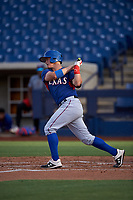 AZL Rangers designated hitter Josh Jung (18) at bat during an Arizona League game against the AZL Brewers Blue on July 11, 2019 at American Family Fields of Phoenix in Phoenix, Arizona. The AZL Rangers defeated the AZL Brewers Blue 5-2. (Zachary Lucy/Four Seam Images)
