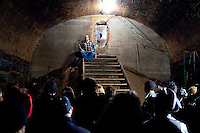 Bob Diamond gives his patented lecture in the Atlantic Avenue tunnel, the world's oldest subway tunnel, in Brooklyn, NY on March 7, 2010.<br /> <br /> The Atlantic Avenue tunnel was built in 1844 and in use until 1861.  Although many fantastical stories were told throughout the years of the tunnel's use by various organizations, including German spies in World War One, the tunnel lay mostly undisturbed until rediscovered by Bob Diamond, an engineering student, in 1980.