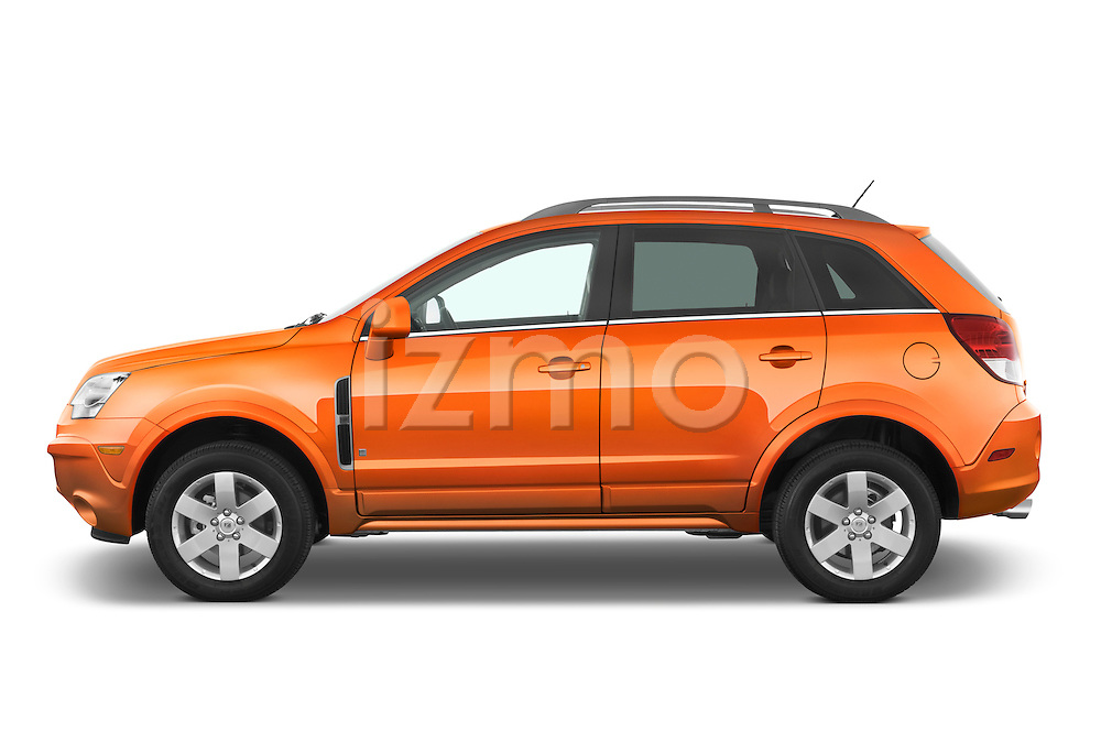 Driver side profile view of a orange 2008 Saturn Vue.