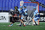 Face-Off Classic: Defensemen Charlie McComas #45 of the North Carolina Tar Heels defends Midfielder Jeff Froccaro # 10 of the Princeton Tigers during the Princeton v North Carolina mens lacrosse game at M&T Bank Stadium on March 10, 2012 in Baltimore, Maryland. (Ryan Lasek/Eclipse Sportswire)