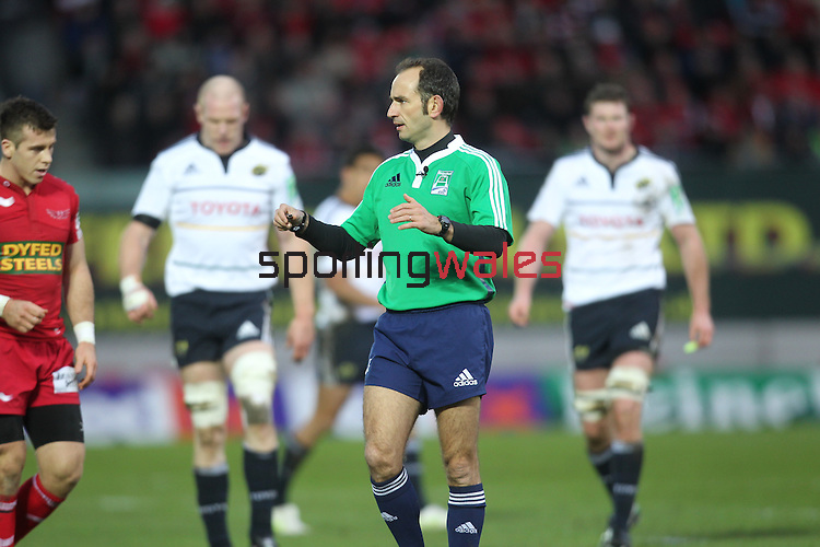 Referee Romain Poite.Heineken Cup.Scarlets v Munster.Parc y Scarlets.10.12.11.©Steve Pope