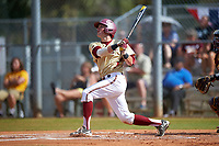 Boston College Eagles third baseman Joe Cronin (4) hits a home run during a game against the Central Michigan Chippewas on March 8, 2016 at North Charlotte Regional Park in Port Charlotte, Florida.  Boston College defeated Central Michigan 9-3.  (Mike Janes/Four Seam Images)