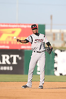 Jose Rondon (13) of the Lake Elsinore Storm in the field during a game against the Lancaster JetHawks at The Hanger on May 9, 2015 in Lancaster, California. Lancaster defeated Lake Elsinore, 3-1. (Larry Goren/Four Seam Images)