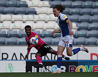16th April 2021; Ewood Park, Blackburn, Lancashire, England; English Football League Championship Football, Blackburn Rovers versus Derby County; Nathan Byrne of Derby County crosses the ball as Sam Gallagher of Blackburn Rovers attempts to block
