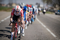 Adam Hansen (AUS/Lotto-Soudal) setting the tempo in the peloton<br /> <br /> 110th Milano-Sanremo 2019 (ITA)<br /> One day race from Milano to Sanremo (291km)<br /> <br /> ©kramon