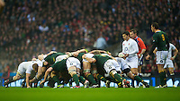 Ben Youngs of England puts the ball into the scrum during the QBE Autumn International match between England and South Africa at Twickenham on Saturday 24 November 2012 (Photo by Rob Munro)