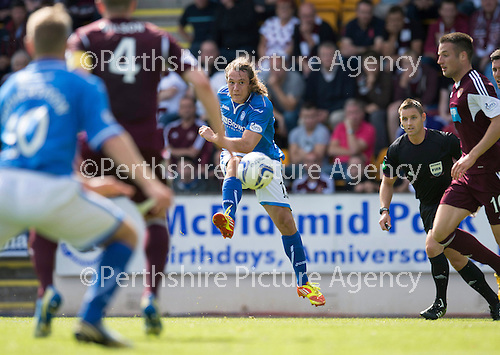 St Johnstone v Hearts...04.08.13 SPFL<br /> Stevie May makes it 1-0 to saints<br /> Picture by Graeme Hart.<br /> Copyright Perthshire Picture Agency<br /> Tel: 01738 623350  Mobile: 07990 594431