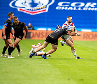 22nd August 2020; The John Smiths Stadium, Huddersfield, Yorkshire, England; Rugby League Coral Challenge Cup, Catalan Dragons versus Wakefield Trinity; Jay Pitts of Wakefield Trinity is tackled by Benjamin Jullien of Catalan Dragons