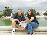 John and Beth at Jardin des Tuileries and the Louvre Museum, Paris, France.