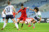 20200304 Faro , Portugal : Portugese midfielder Claudia Neto (7) and Italian defender Sara Gama (3) pictured during the female football game between the national teams of Portugal and Italy on the first matchday of the Algarve Cup 2020 , a prestigious friendly womensoccer tournament in Portugal , on wednesday 4 th March 2020 in Faro , Portugal . PHOTO SPORTPIX.BE   STIJN AUDOOREN