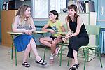 Film director Pilar Palomero (l) and actresses Andrea Fandos and Natalia de Molina (r) attend to the media during 'Las Ninas' filming. August 2, 2019. (ALTERPHOTOS/Francis González)