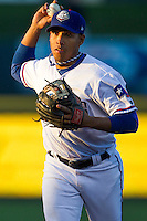 Round Rock Express second baseman Yangervis Solarte #26 makes a throw to first base against the Omaha Storm Chasers in the Pacific Coast League baseball game on April 4, 2013 at the Dell Diamond in Round Rock, Texas. Round Rock defeated Omaha in their season opener 3-1. (Andrew Woolley/Four Seam Images).