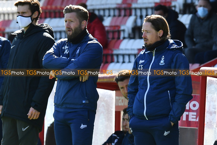 Bradford City AFC Manager Conor Sellars and Bradford City AFC Manager Mark Trueman during Stevenage vs Bradford City, Sky Bet EFL League 2 Football at the Lamex Stadium on 5th April 2021