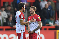 Jake Reeves of Stevenage FC and Ben Coker of Stevenage FC during Stevenage vs Exeter City, Sky Bet EFL League 2 Football at the Lamex Stadium on 9th October 2021