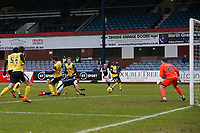 20th February 2021; Dens Park, Dundee, Scotland; Scottish Championship Football, Dundee FC versus Queen of the South; Osman Sow of Dundee comes close with a diving header which went just wide of the goal post
