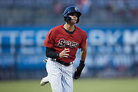 Craig Dedelow (11) of the Birmingham Barons hustles down the first base line against the Mississippi Braves at Regions Field on August 3, 2021, in Birmingham, Alabama. (Brian Westerholt/Four Seam Images)