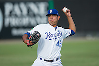 Burlington Royals starting pitcher Cristian Castillo (43) warms up in the outfield prior to the game against the Bluefield Blue Jays at Burlington Athletic Stadium on June 28, 2016 in Burlington, North Carolina.  The Royals defeated the Blue Jays 4-0.  (Brian Westerholt/Four Seam Images)