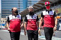 3rd June 2021; Baku, Azerbaijan;  VASSEUR Frederic (fra), Team Principal of Alfa Romeo Racing ORLEN, PUJOLAR Xevi (spa), Head of Trackside Engineering F1 of Alfa Romeo Racing ORLEN,  GIOVINAZZI Antonio (ita), Alfa Romeo Racing ORLEN C41 during the Formula 1 Azerbaijan Grand Prix 2021 at the Baku City Circuit, in Baku, Azerbaijan