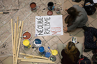 Montreal, CANADA - Nov 11 - Students at CEGEP du Vieux-Montreal get ready for the 1 day strike on the next day of November 11, 2014,<br /> <br /> Photo :  Agence Quebec Presse - Philippe Nguyen