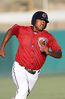 Domingo Santana #13 of the Lancaster JetHawks runs the bases against the Stockton Ports at Clear Channel Stadium on July 8, 2012 in Lancaster, California. Lancaster defeated Stockton 10-8. (Larry Goren/Four Seam Images)