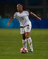 Angela Hucles. The US lost to Norway, 2-0, during first round play at the 2008 Beijing Olympics in Qinhuangdao, China.