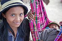 Myanmar, Burma, Yangon.  Burmese Mother and Child.