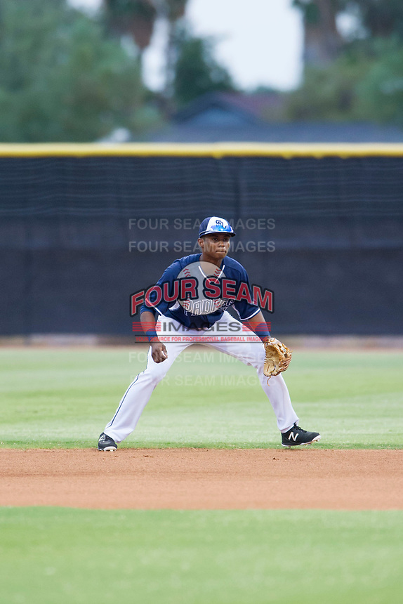 AZL Padres second baseman Esteury Ruiz (13) on defense against the AZL Indians on August 28, 2017 at the San Diego Padres Spring Training Complex in Peoria, Arizona. AZL Padres defeated the AZL Indians 7-4. (Zachary Lucy/Four Seam Images)