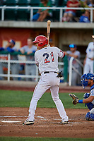 Ryan Vega (21) of the Orem Owlz bats against the Ogden Raptors at Home of the Owlz on September 11, 2017 in Orem, Utah. Ogden defeated Orem 7-3 to win the South Division Championship. (Stephen Smith/Four Seam Images)