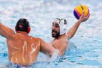 20-02-2021: Waterpolo: France v Canada: Rotterdam<br /> <br /> ROTTERDAM, NETHERLANDS - FEBRUARY 20: Jeremie Cote of Canada, Mehdi Marzouki of France during the Olympic Waterpolo Qualification Tournament 2021 match between France and Canada at Zwemcentrum Rotterdam on February 20, 2021 in Rotterdam, Netherlands (Photo by Marcel ter Bals/Orange Pictures)