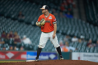 Sam Houston State Bearkats starting pitcher Seth Ballew (11) looks to his catcher for the sign against the Mississippi State Bulldogs during game eight of the 2018 Shriners Hospitals for Children College Classic at Minute Maid Park on March 3, 2018 in Houston, Texas. The Bulldogs defeated the Bearkats 4-1.  (Brian Westerholt/Four Seam Images)