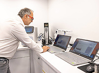 15th October 2020, Rettenbachferner, Soelden, Austria; FIS World Cup Alpine Skiing free practise training; Employee checks test results on laptop during preparations for the FIS ski alpine world cup opening