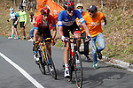 Brandon McNulty (USA) UAE Team Emirates and Mikel Landa (ESP) Bahrain Victorious attack on the final climb of Erlaitz during Stage 4 of the Itzulia Basque Country 2021, running 189.2km from Vitoria-Gasteiz to Hondarribia, Spain. 8th April 2021.  <br /> Picture: Luis Angel Gomez/Photogomezsport | Cyclefile<br /> <br /> All photos usage must carry mandatory copyright credit (© Cyclefile | Luis Angel Gomez/Photogomezsport)