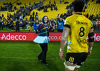 Ardie Savea is congratulated by fans after the Super Rugby Aotearoa match between the Hurricanes and Blues at Sky Stadium in Wellington, New Zealand on Saturday, 18 July 2020. Photo: Dave Lintott / lintottphoto.co.nz