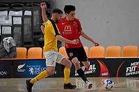 Hemi Innes of Canterbury and Tai Barham of Capital during the Men's Futsal SuperLeague, Canterbury United Futsal Dragons v Capital Futsal at ASB Sports Centre, Wellington on Saturday 31 October 2020.<br /> Copyright photo: Masanori Udagawa /  www.photosp ort.nz