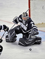 1 February 2008: University of New Hampshire Wildcats' goaltender Kevin Regan, a Senior from South Boston, MA, in action against the University of Vermont Catamounts at Gutterson Fieldhouse in Burlington, Vermont. Regan made 19 saves to lift the seventh-ranked Wildcats to a 5-1 victory against Vermont in front of a sellout crowd of 4,003...Mandatory Photo Credit: Ed Wolfstein Photo