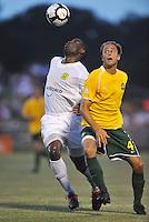 Chinedu (Bright) Dike-Portland Timbers, Tim Velten-AC St Louis #4...AC St Louis defeated Portland Timbers 3-0 at Anheuser-Busch Soccer Park, Fenton, Mssouri.