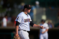 Inland Empire 66ers relief pitcher Jonah Wesely (19) walks off the field between innings of a California League game against the Lancaster JetHawks at San Manuel Stadium on May 20, 2018 in San Bernardino, California. Inland Empire defeated Lancaster 12-2. (Zachary Lucy/Four Seam Images)