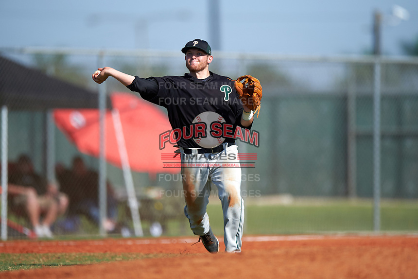 Plymouth State Panthers third baseman Dave Hall (7) during the first game of a doubleheader against the Edgewood Eagles on March 17, 2016 at Lee County Player Development Complex in Fort Myers, Florida.  Plymouth State defeated Edgewood 6-5.  (Mike Janes/Four Seam Images)