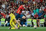 Spain national team player Alvaro Morata and Sweden national team player Filip Helander during UEFA EURO 2020 Qualifier match between Spain and Sweden at Santiago Bernabeu Stadium in Madrid, Spain. June 10, 2019. (ALTERPHOTOS/A. Perez Meca)